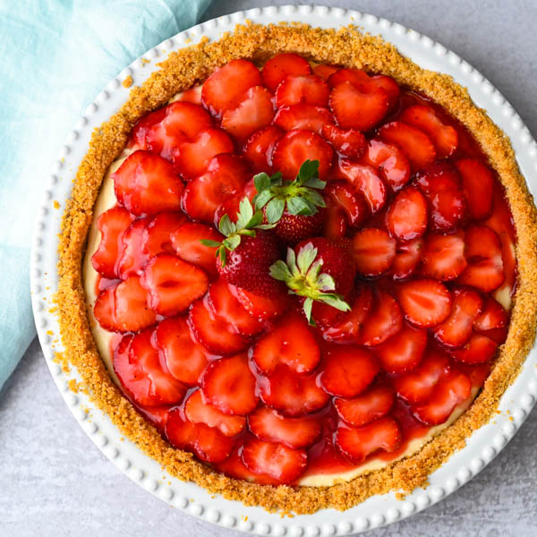 Strawberry Pie with Graham Cracker Crust in a pie plate.