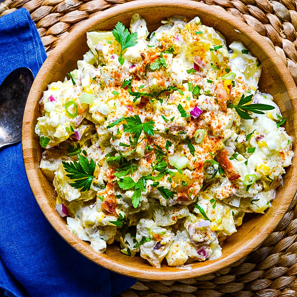bacon and egg potato salad is a tasty 4th of july side dishes.