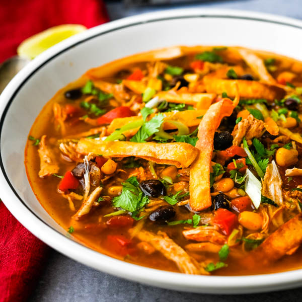 Homemade Instant Pot Southwestern Chicken Soup with crispy tortilla strips. Zen of Slow cooking will be at the Fancy Foods Show New York.