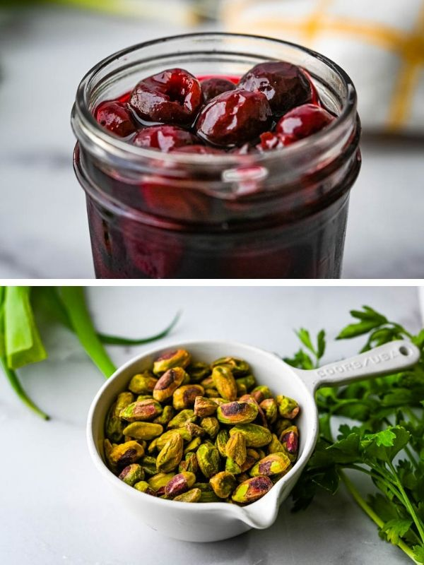 Pickled cherries and pistachios for cherry salad.