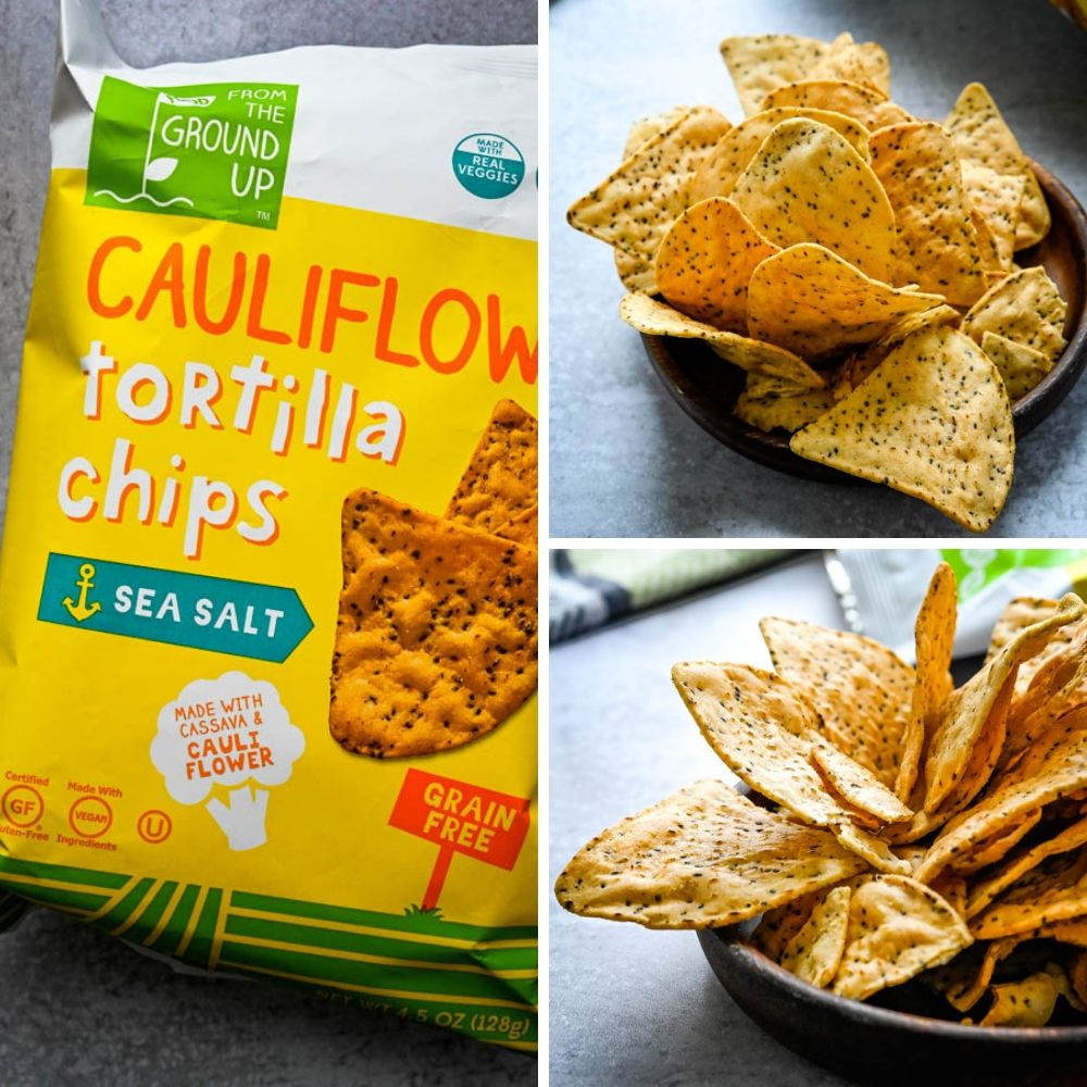 Cauliflower and Chia seed tortilla chips via From The Ground Up.