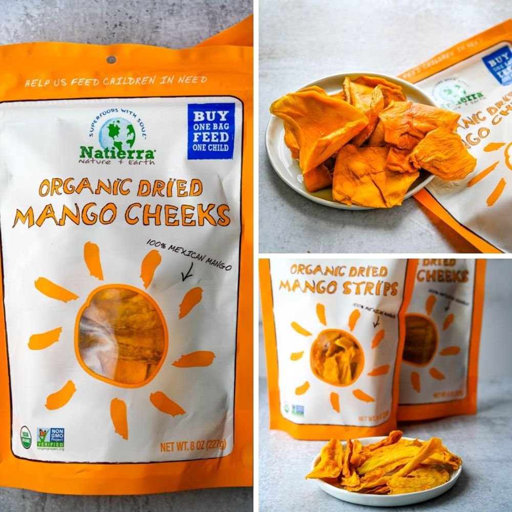 Dried Mango Cheeks and Strips from Natierra.