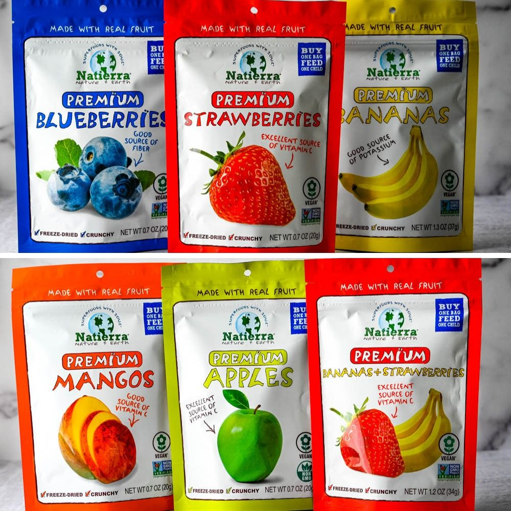Freeze Dried Fruit from Natierra in their packages.