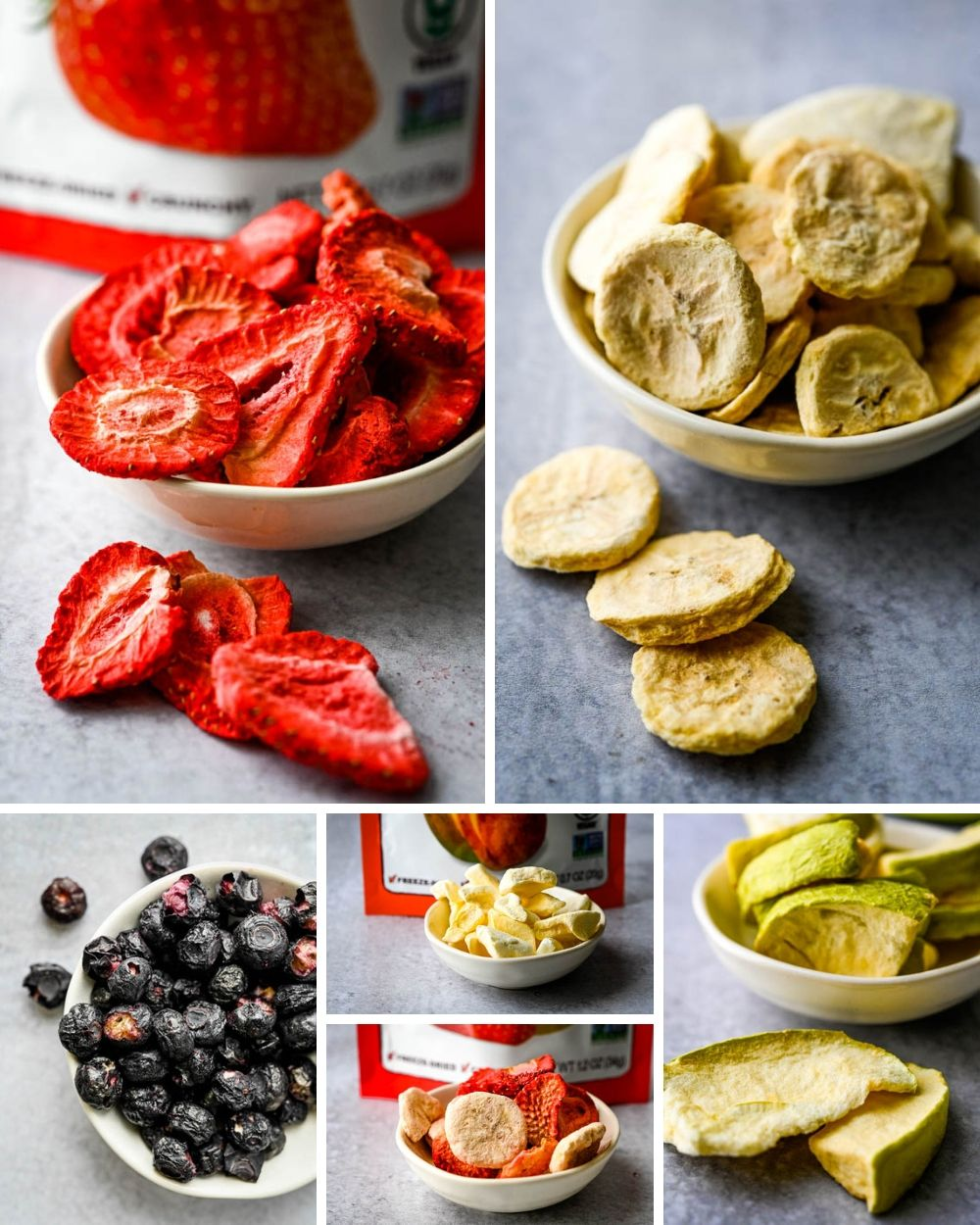 photo collage of freeze dried fruit from Natierra, displaying at the Summer Fancy Foods Show