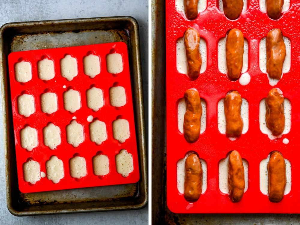 Process of making hot dog bites with the Mobi silicone molds.-one of the new food trends at the show.