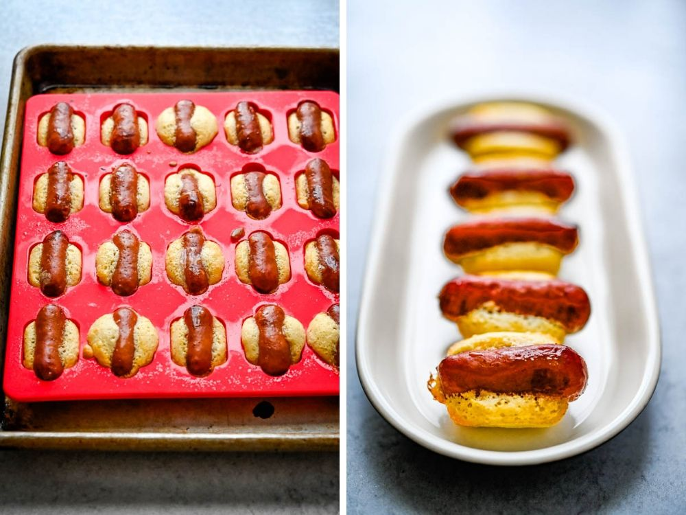 Baked hot dog bites in the mold and on a plate. Mobi creations will be exhibiting at the fancy food show New York.
