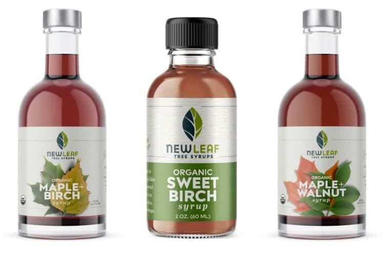 Three varieties of New Leaf Tree Syrups.