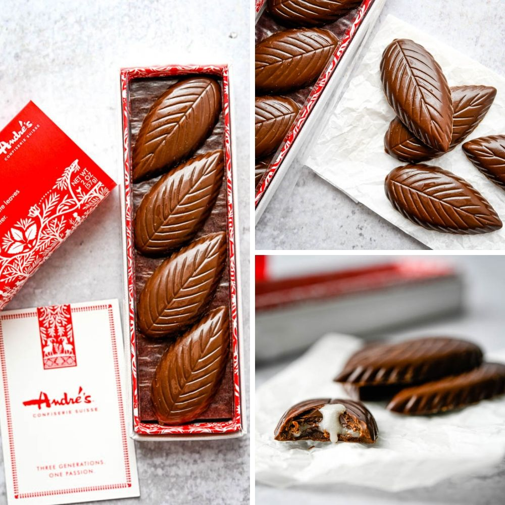 close up images of chocolate mint leaves by Andre's Suisse, another example of food trends at the Fancy Food Show New York.