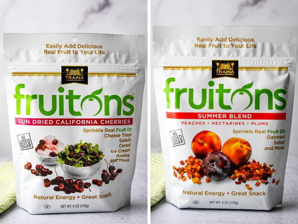 Package of California Cherries and Summer Blend dried fruits from Traina.