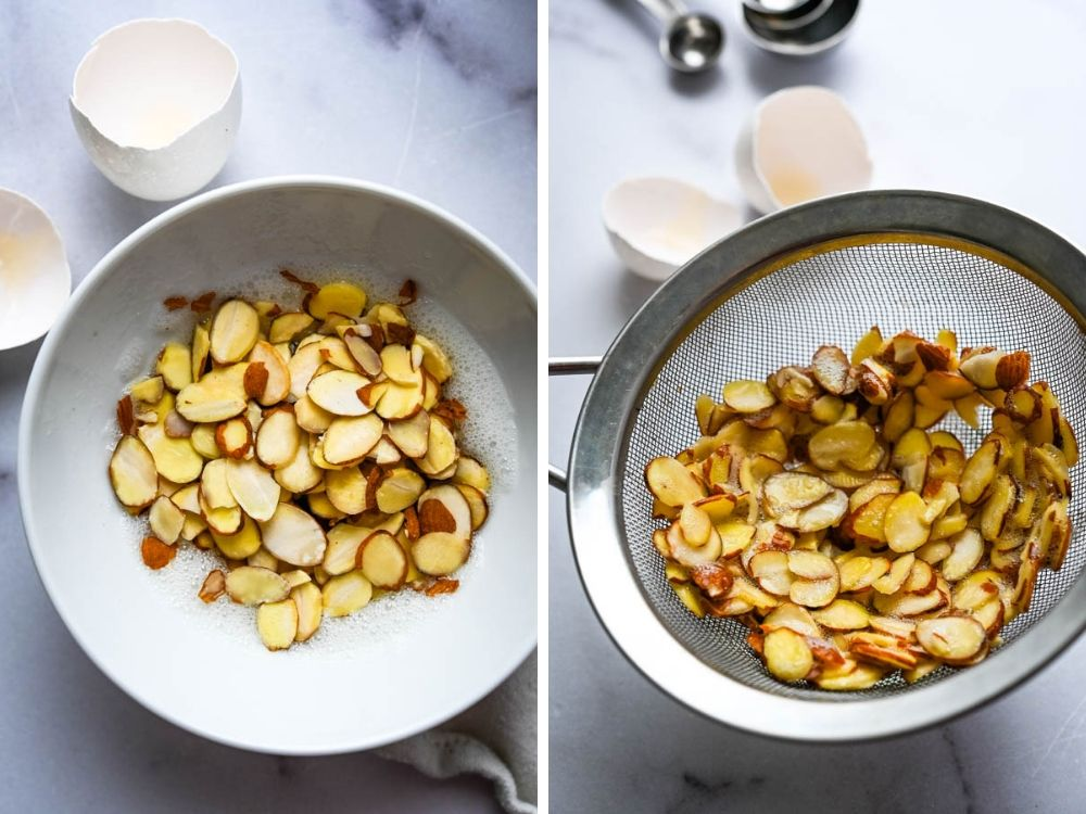 tossing almonds in egg whites for sugared almonds.