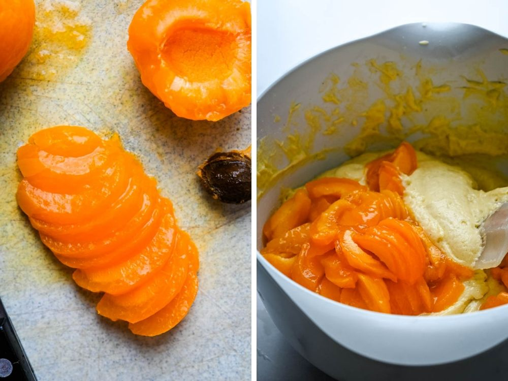 slicing apricots and adding them to the batter.