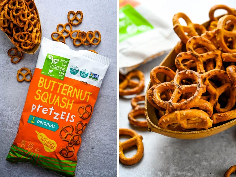 Butternut squash pretzels in a bowl.