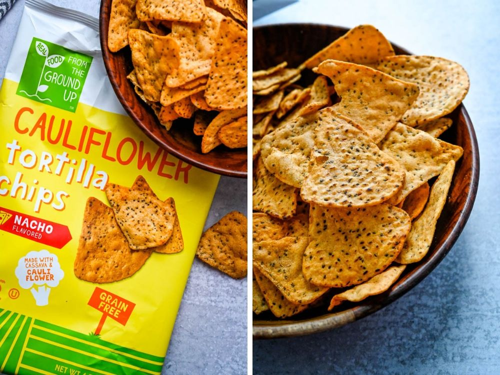 Nacho Cheese flavored tortilla chips in a bowl.