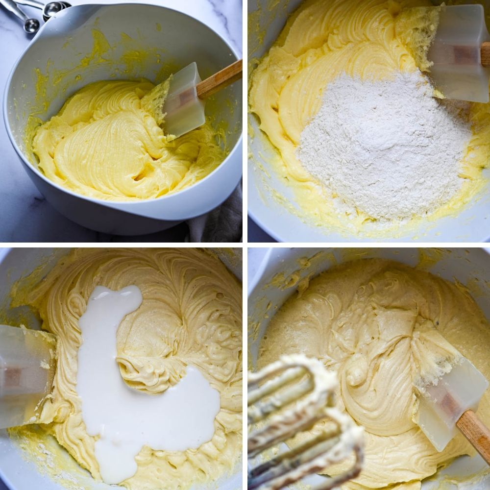 making summer cakes batter alternating wet and dry ingredients.