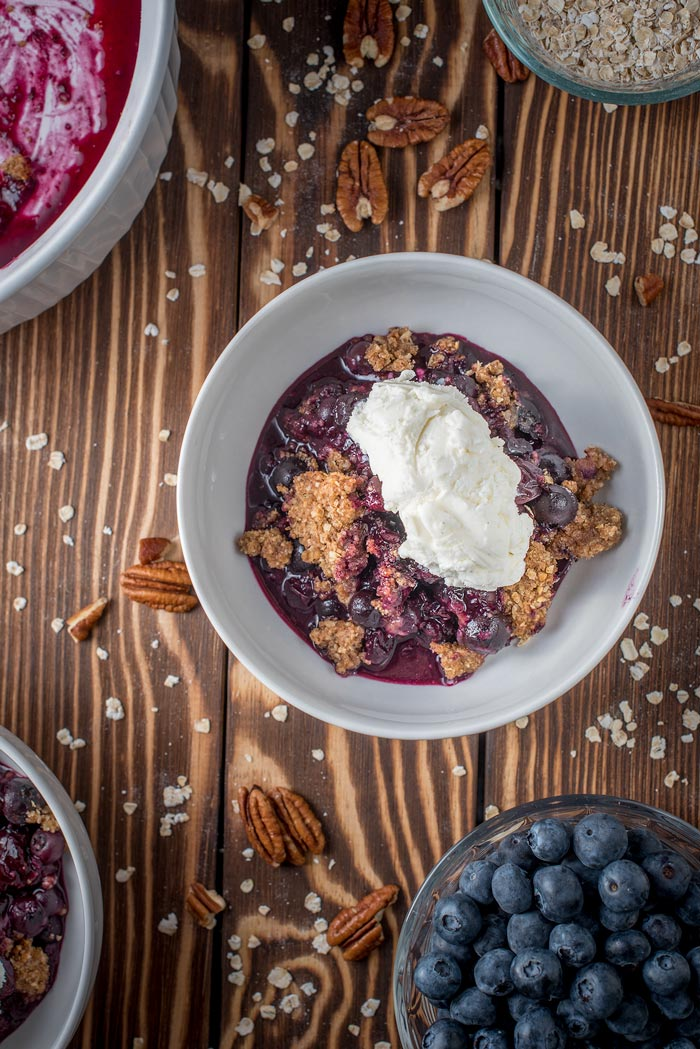 blueberry crisp in a bowl.