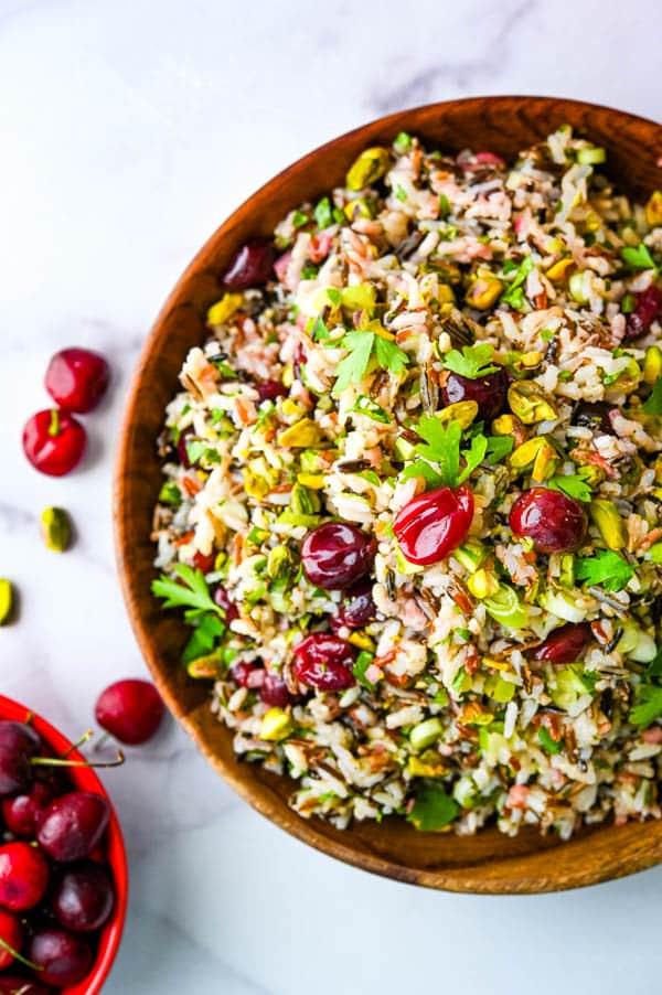 Rice Salad Recipe in an acacia bowl.