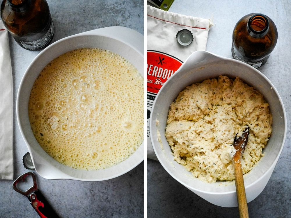 Mixing soberdough with beer.