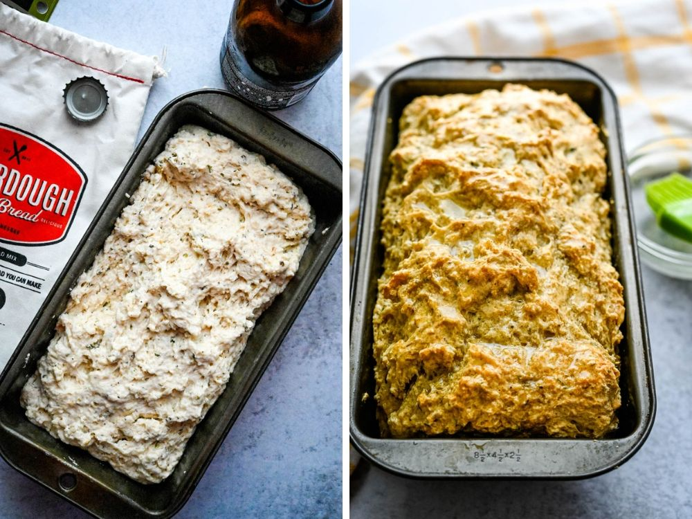 baked soberdough in a loaf pan.