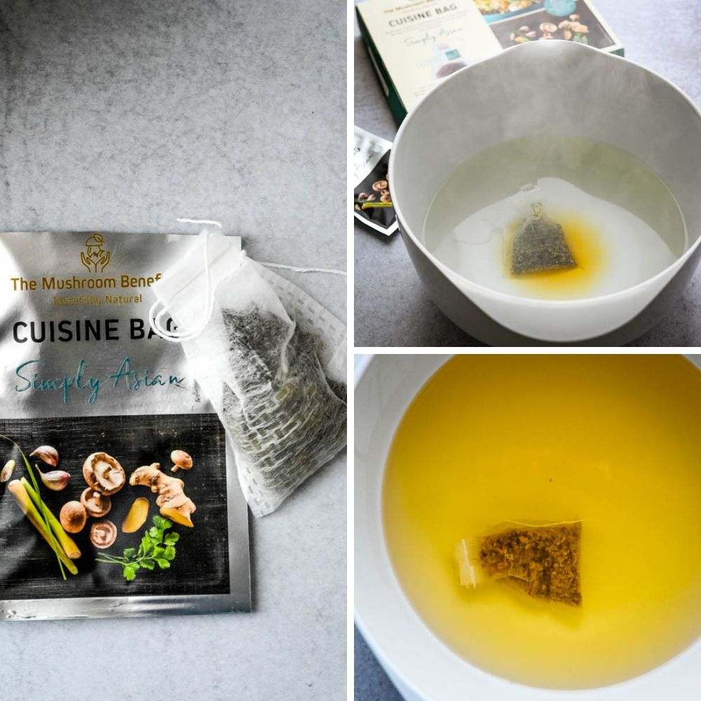 Infusing hot water with the Simply Asian Cuisine bag received at the food trade show.