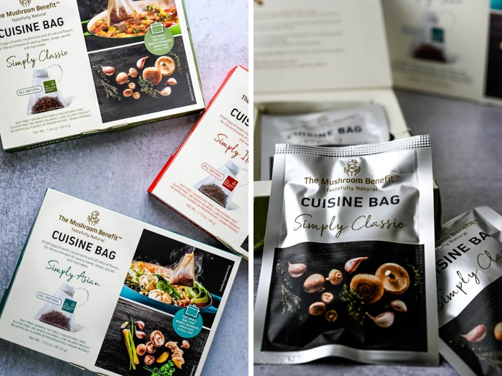 The Mushroom Benefit Cuisine Bag is a cool new food trend discovered at the Summer Fancy Food Show