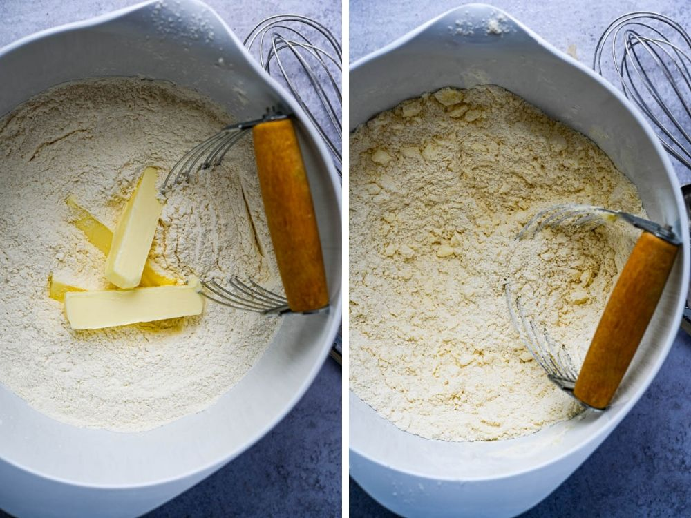 Blending butter into the dry ingredients.