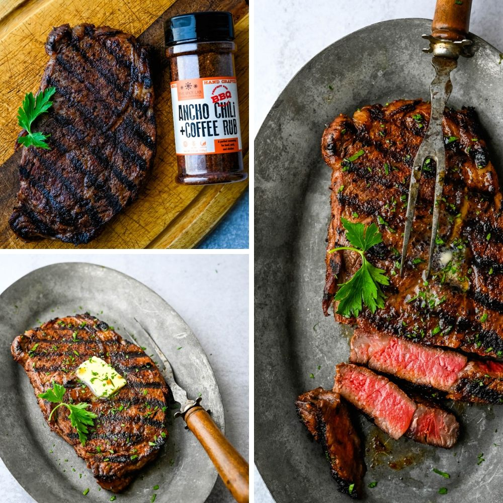 rib eye steak with ancho chili and coffee rub, a 2019 food trend.