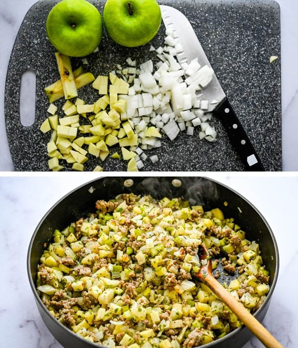 dicing vegetables and sautéing with crumbled sausage.