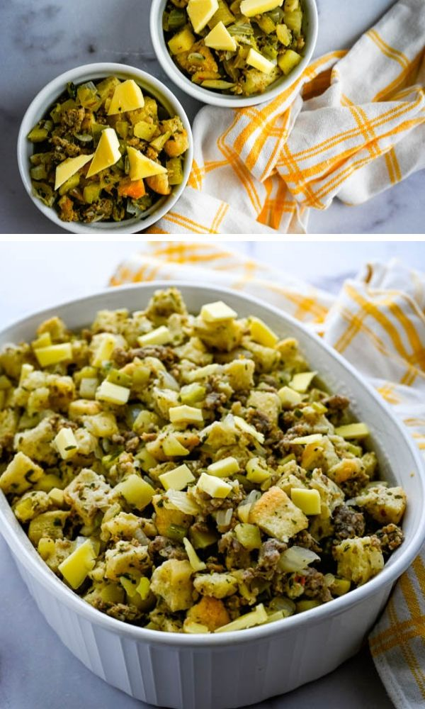 dotting stuffing casserole with butter.