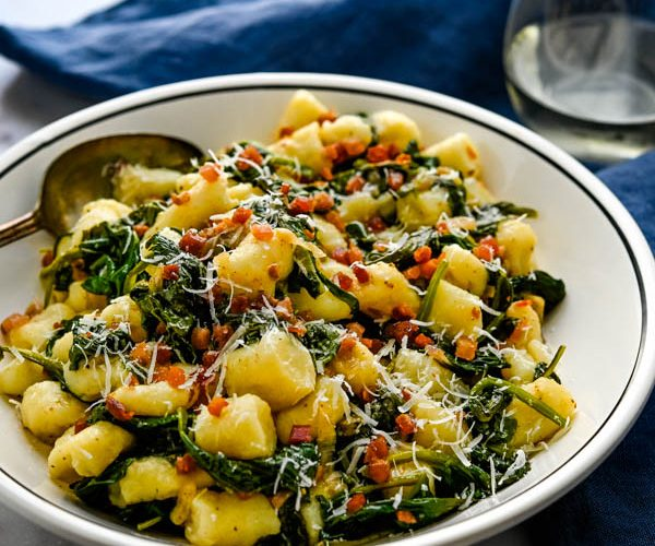 Italian Gnocchi with Sautéed Spinach and Crispy Pancetta