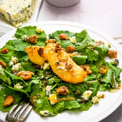 Warm Caramelized Pear Gorgonzola Salad with Glazed Walnuts