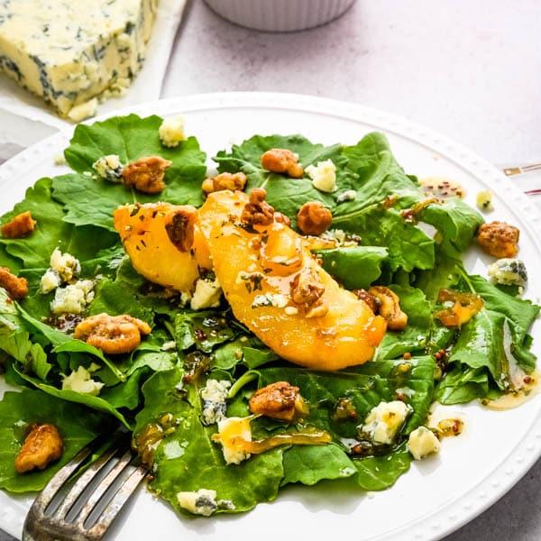 Warm Caramelized Pear Gorgonzola Salad with Glazed Walnuts