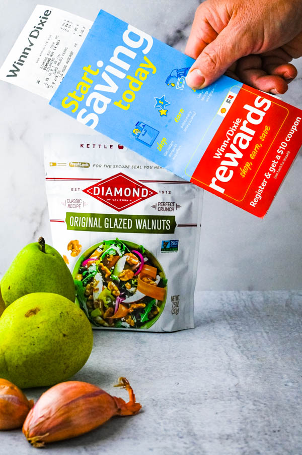 Ingredients for the pear salad with a savings reward card.