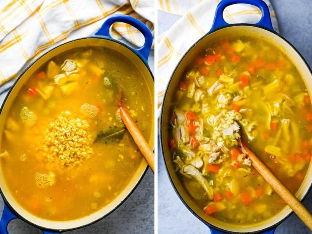Adding alphabet pasta to turkey vegetable soup.