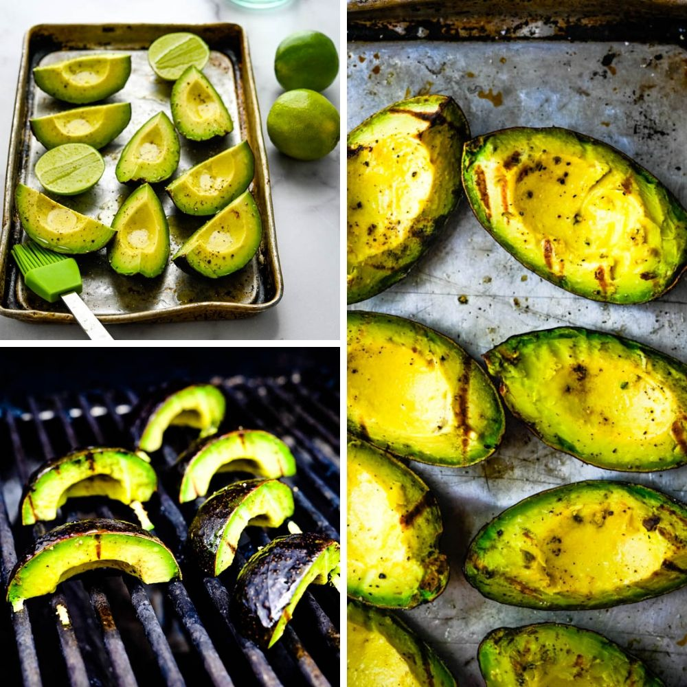 grilling avocados for the mexican steak tacos.