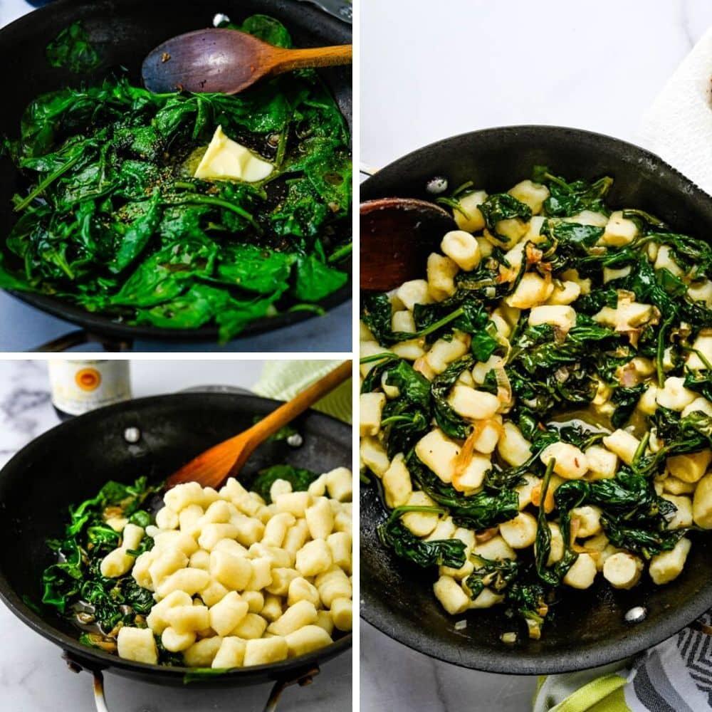 adding italian gnocchi to sautéed spinach.