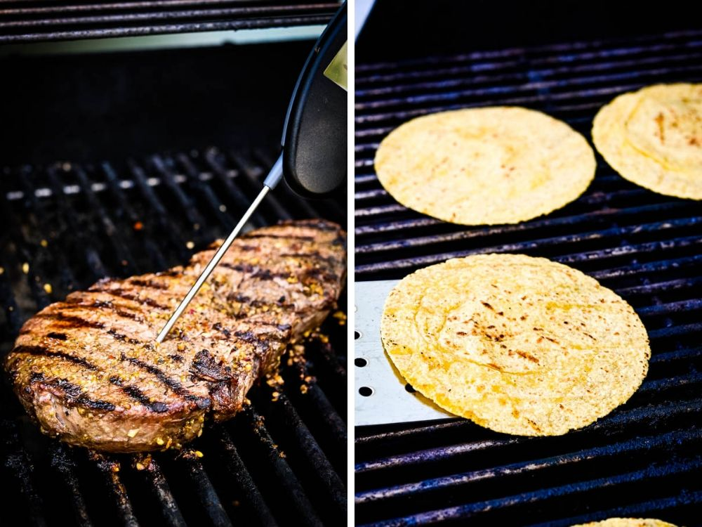 Grilling beef and corn tortillas on the grill.