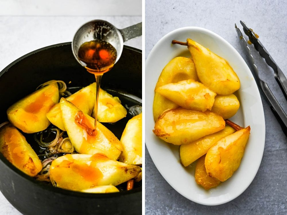 Glazing the warm pears with honey.