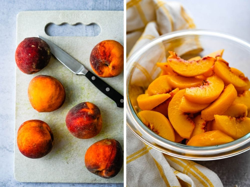 peeling and slicing fresh peaches for easy summer desserts like cobbler.