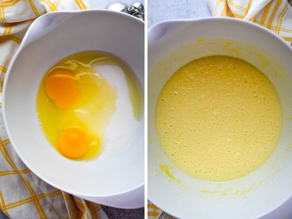 mixing eggs and sugar for batter for easy summer treats..