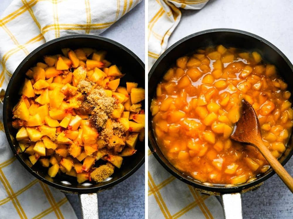 making peach filling for dessert bar recipes.