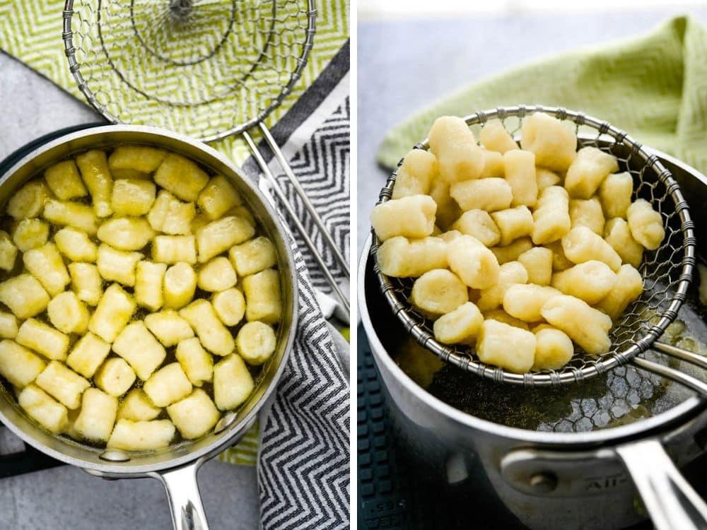 blanch the potato gnocchi recipe until the dumplings float.