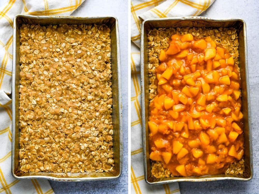 layering fresh peach bars.