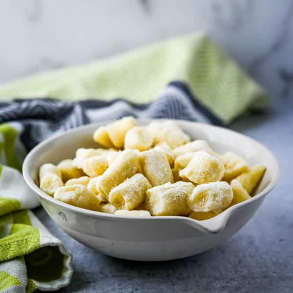 homemade potato gnocchi from the freezer.