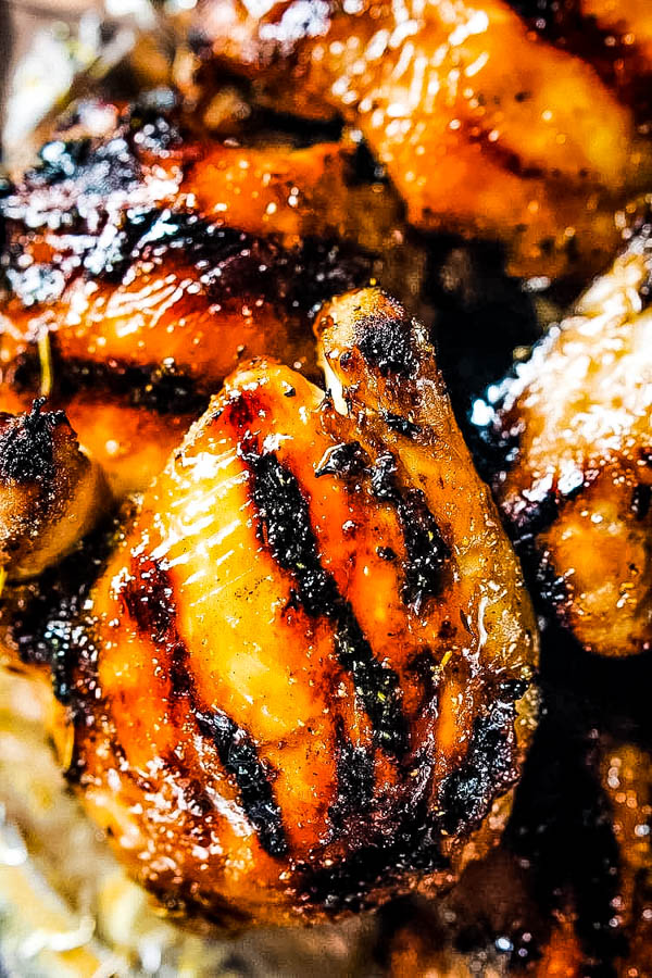 Honey Mustard Grilled Chicken Thighs - perfectly grilled chicken for your Labor Day Traditions.