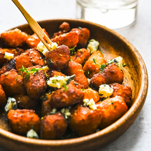 Crispy Fried Sweet Potato Gnocchi with Blue Cheese