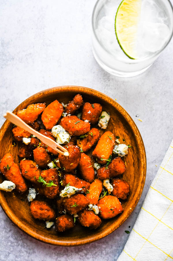 You can use Trader Joe's sweet potato gnocchi for simplified gnocchi blue cheese recipes