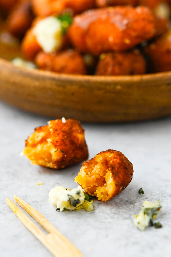 Showing the creamy interior of sweet potato blue cheese gnocchi.