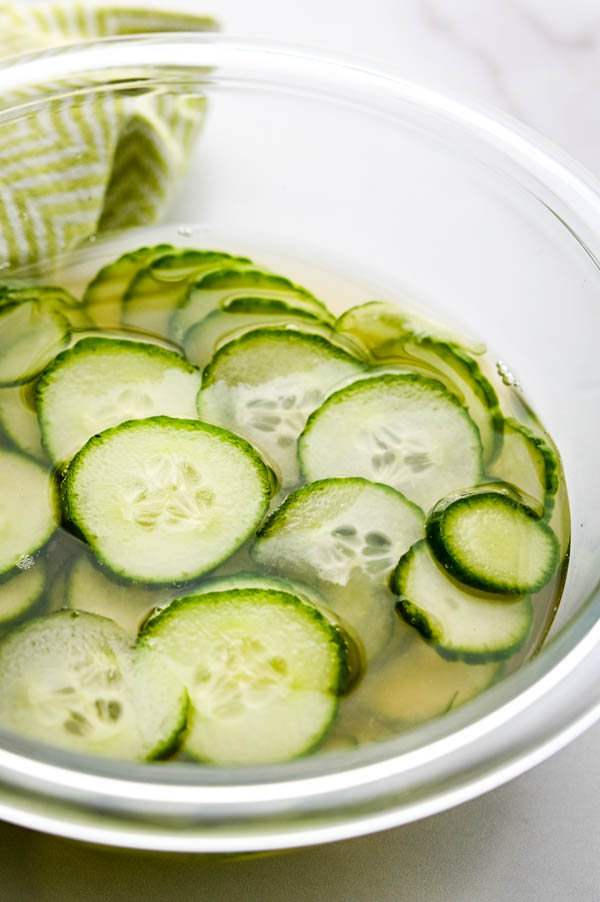 brining the cucumbers in pickle brine.