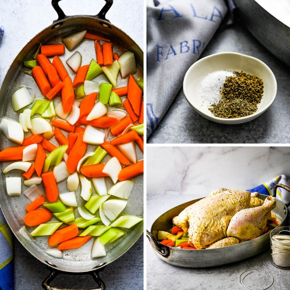 Adding vegetables to a pan and coating bird in poultry seasoning.