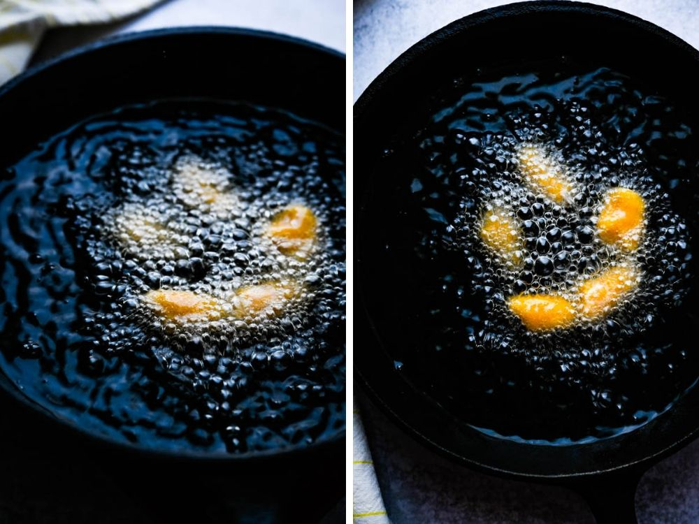 frying dumplings in hot oil.